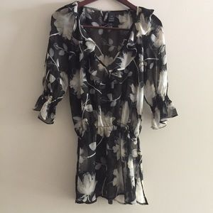 Black Floral Ruffle Waist Cinched  Sheer Top